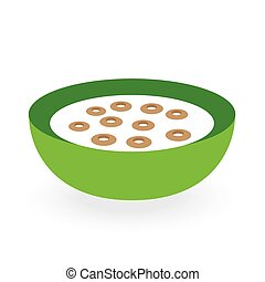 cereals bowl milk isolated on white background