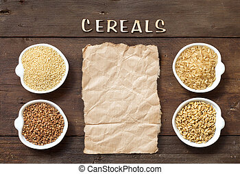Cereals in bowls with word Cereals and paper