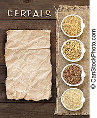 Cereals in bowls with word %u0441ereals