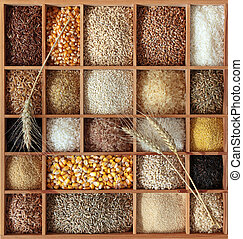 Cereals in wooden box