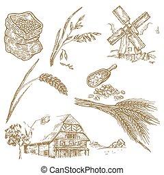 Cereals set. Hand drawn illustration windmill, wheat, oats, farm
