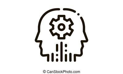 cerebral hemisphere settings Icon Animation. black cerebral hemisphere settings animated icon on white background