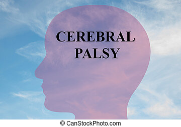 Render illustration of 'CEREBRAL PALSY' title on head silhouette, with cloudy sky as a background.