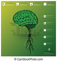 cerebro, árbol, y, raíz, infographic, ciencia, plano de fondo