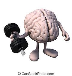 cerebro, órgano, con, brazos y piernas, cargue instrucción
