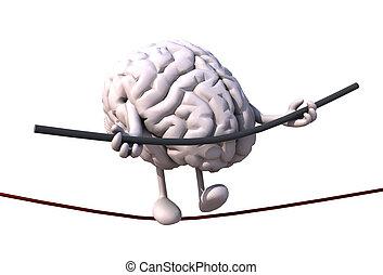cerebro, alambre, acróbata, paseos