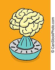 cerebro, apretar, jugo