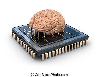cerebro, astilla, computadora, humano
