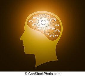 cerebro, cabeza, engranajes, progreso
