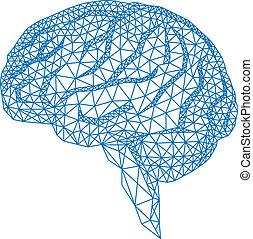 cerebro, con, patrón geométrico, vecto