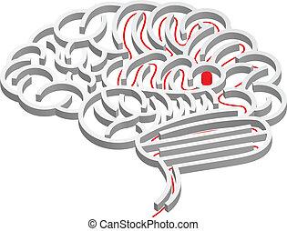 cerebro, concepto, laberinto