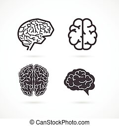 cerebro, -, conjunto, de, vector, ilustraciones, y, iconos
