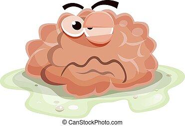 cerebro, dañado, carácter