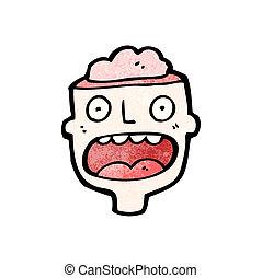 cerebro, hombre, caricatura, expuesto