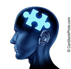 cerebro, humano, desconcertado
