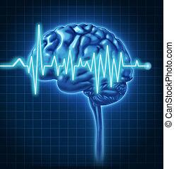 cerebro humano, salud, con, ecg