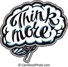 cerebro, icono, con, inscripción, pensar, más