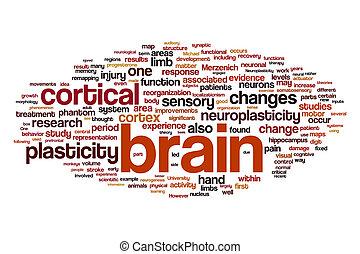 cerebro, palabra, nube, concepto