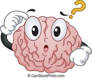 cerebro pensador, mascota, signo de interrogación