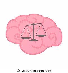 cerebro, peso, aislado, desequilibrado, escala
