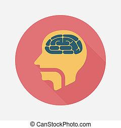 cerebro, plano, icono, con, largo, sombra