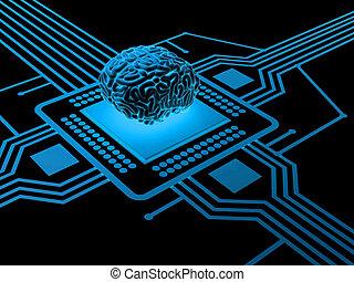 cerebro, procesador, humano