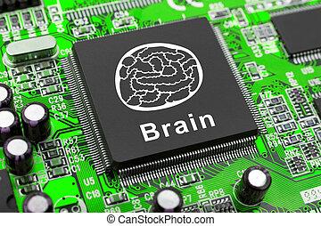 cerebro, símbolo, viruta de computadora