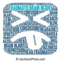 cerebro, traumático, palabra, nube, lesión