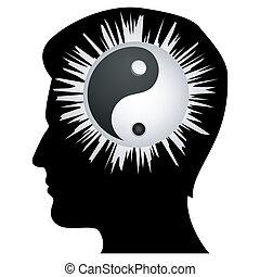 cerebro, yin, humano, yang