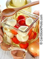 cereja, óleo, jarro, mozzarella, tomates