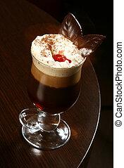cereja, café, cappuccino