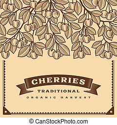 cereja, colheita, retro, cartão, marrom