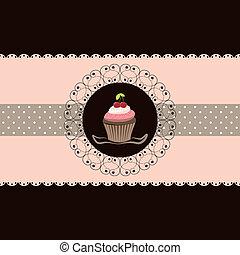 cereja, cupcake, cartão, convite