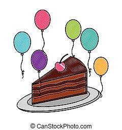 cereja, decoração, bolo aniversário, pedaço, balões