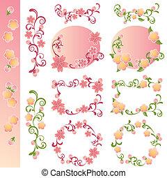 cereja, elementos, desenho, flores