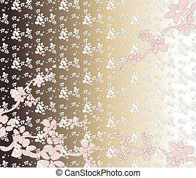 cereja, flores, fundo