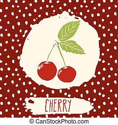 cereja, fruta, desenhado, mão, sketched