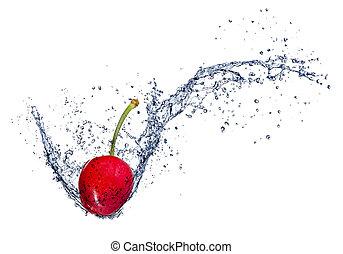 cereja, isolado, água, respingo, fundo, branca