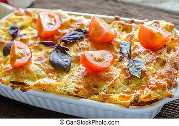 cereja, lasanha, tomates