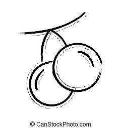 cereja, mão, desenhado, ícone