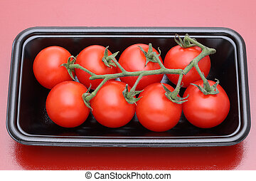 cereja, pacote, tomates, plástico