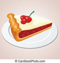 cereja, pedaço, torta