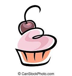 cereja, símbolo, cupcake