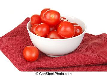 cereja, tigela, tomates