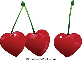 cereja, três, coração