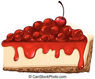 cereja, vermelho, bolo queijo