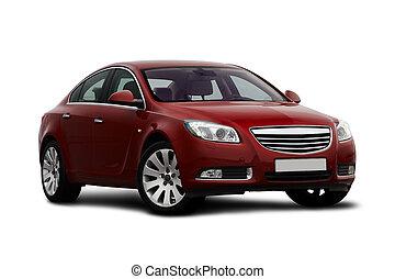 cereja, vista, front-side, carro vermelho