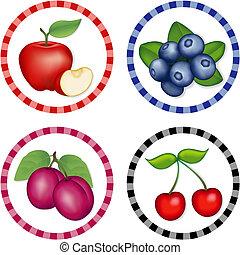 cerejas, maçãs, ameixas, mirtilo
