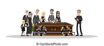 ceremoni, begravning, kyrkogård