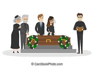 ceremoni, begravning, trist, kyrkogård, folk